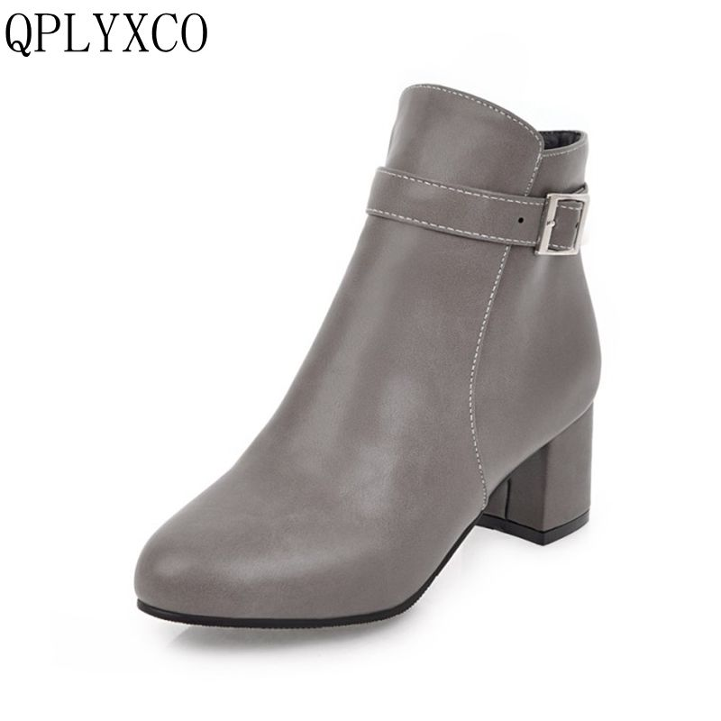 QPLYXCO 2017 New sale Big &small Size 31-45 Spring Autumn Winter stlye ankle Boots shoes Women zipper short Boots High Heel 3-9 qplyxco 2017 new big small size 31 46 ankle short boot winter sexy women round toe high heels 14cm wedding party shoes 559