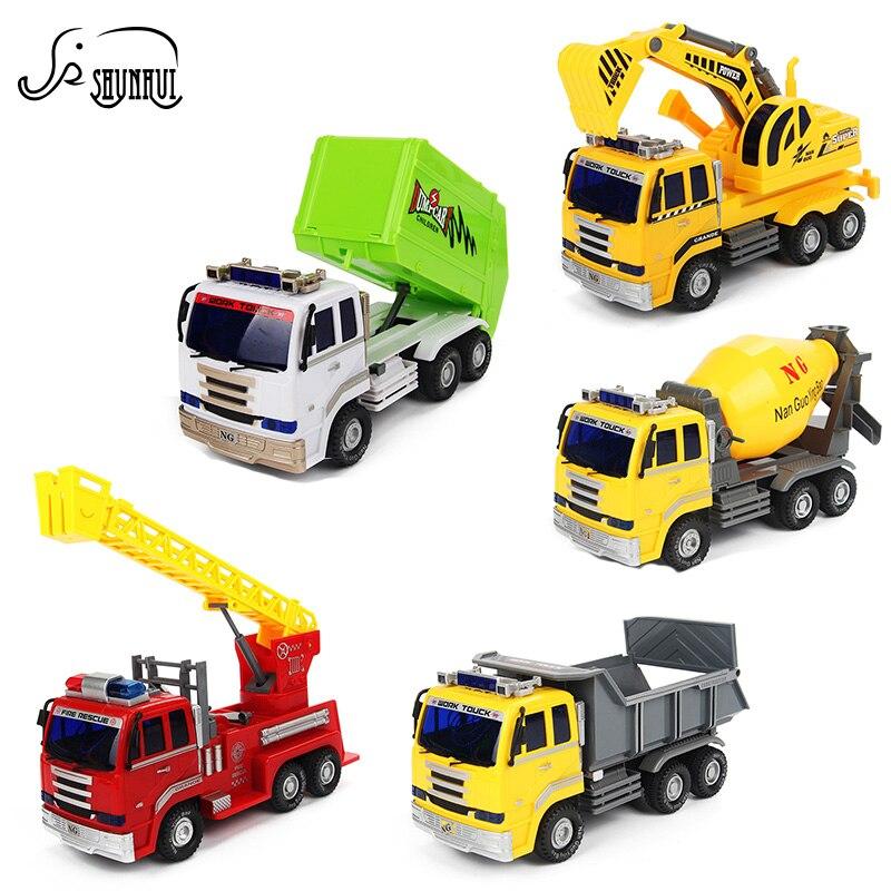 6 стилей электронной техники модель грузовика дети Игрушечные лошадки diecast АВТОМОБИЛЯ С Подсветкой звуки Educational игрушка в подарок для детей