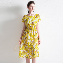 Dress Women Summer Fashion 2019 New 100% Natural Silk Printed Round Neck Raglan Sleeve Drawstring Waist Slim A-Line Casual Dress недорого