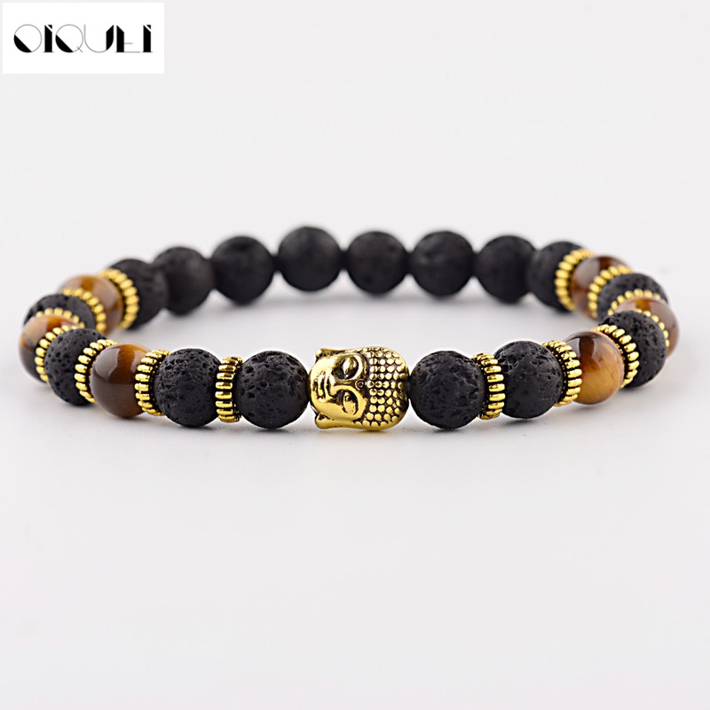 OIQUEI New Fashion Mens Strand Bracelets Lava Rock And Natural Tiger Eye Stone Buddha Head Bead Charm Gift