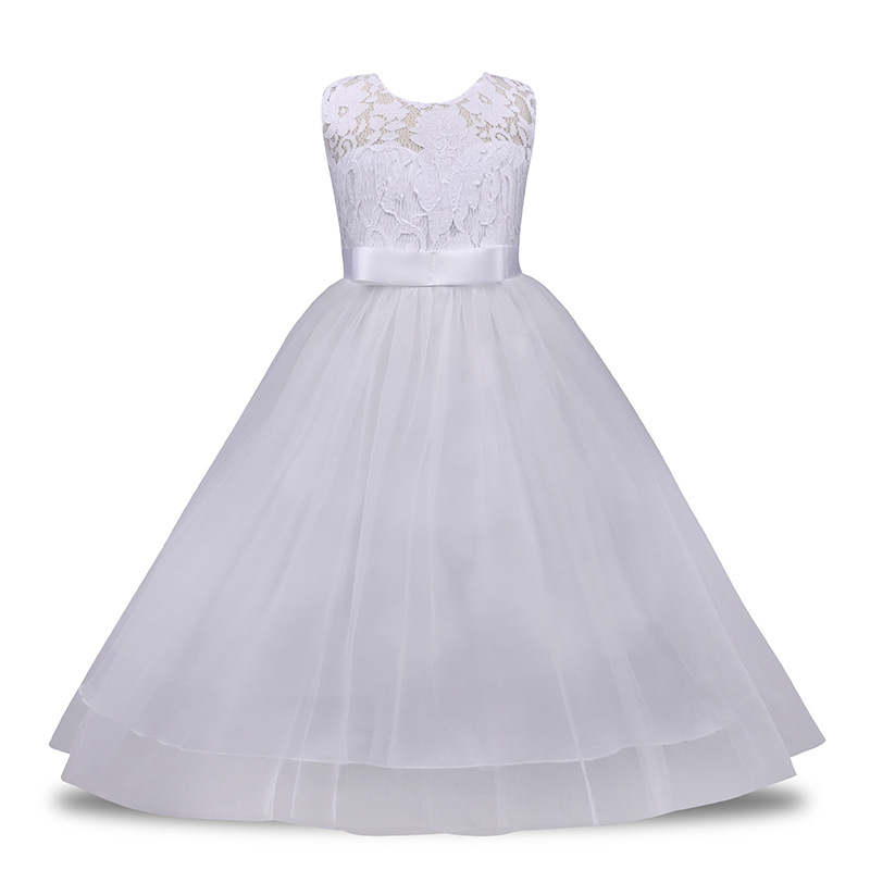 Teenage Girls Dresses for Party and Wedding White Lace Sleeveless Vest Big Princess Dress Long Robe Ete Fille 8 10 12 14 Year girls lace dress sleeveless princess dresses for wedding party 5 to 16 years dress for kids girl dresses 10 12y robe fille pink