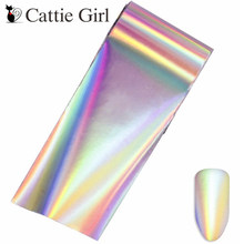 1 roll 4*100CM Holographic Nail Foils Geometric Design Wave Star Art Transfer Foil Stickers Paper Decals