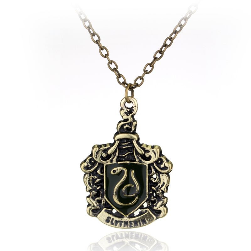 Classical Movie HP Magic Gryffinder Slytherin Ravenclaw Hufflepuff School Badge Pendants Necklace Leather Rope Necklace