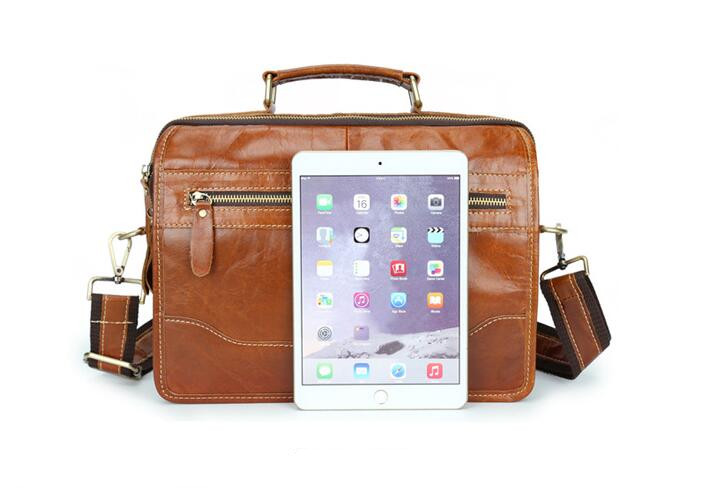Genuine leather Handbags Laptop Men Crossbody Bags Men's Shoulder Bag More zip Briefcase