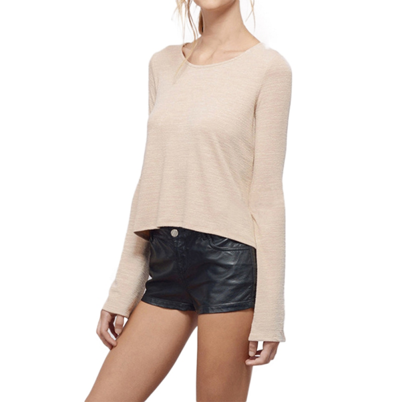 Casual Women Back Hollow Out T shirt Lady O neck Long Sleeve Special Tees For Female Casual Sweatershirts