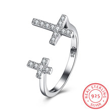 Classical Cross Design Fine 925 Sterling Silver Diamond Wedding Rings For Women Bands Style Engagement Open Ring Jewelry(China)