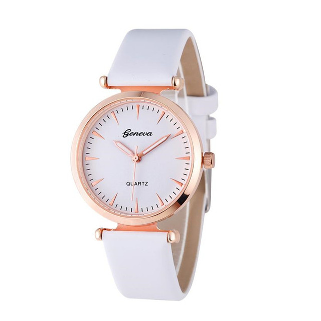 Women watches Geneva Brand Luxury Leather Female Quartz Wrist Watches Quality Fa