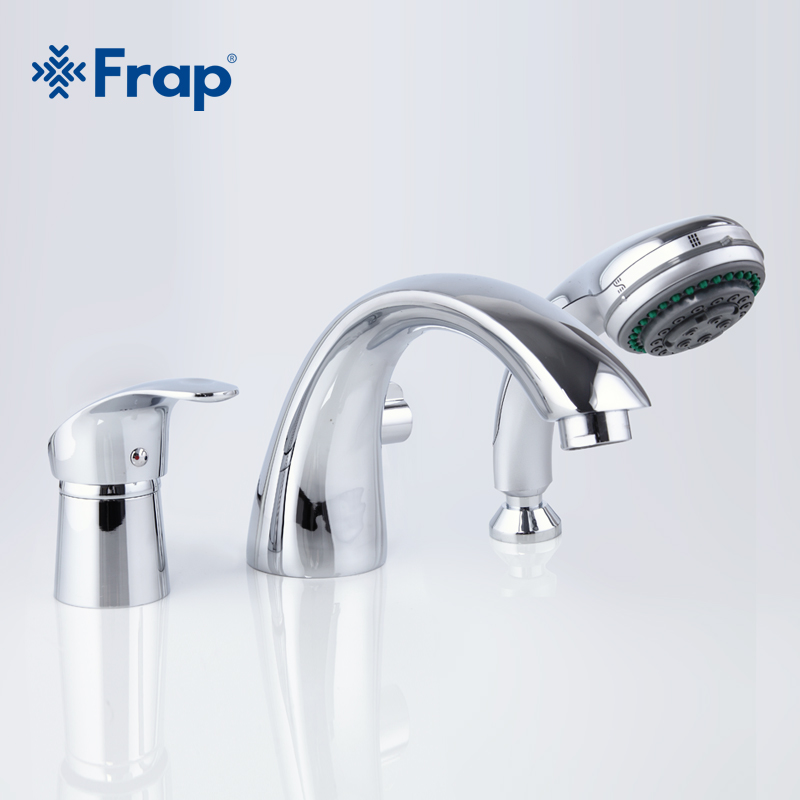 Frap new Bathtub shower Faucet set Full Three-hole Separation Bathroom tap Tub Hot and Cold Water Mixer with Hand Shower F1121