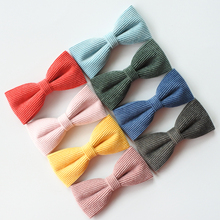 купить Corduroy Solid Color Boutique Hair Bows For Girls Hair Clips Striped Bow Barrettes Teens Hairpins Accessories For Women Headwear дешево