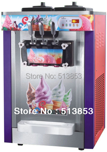 3 Heads Desktop Commercial Ice Cream Making Machine, Icecream Maker 22~25 Liters/H for amusement park, snack shop, school store