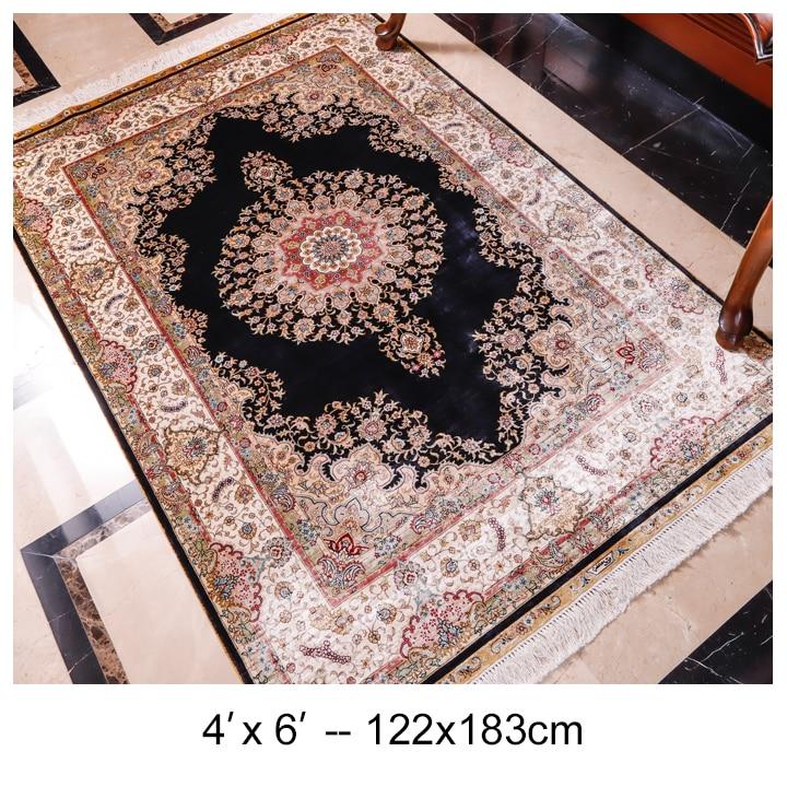 YILONG 4x6ft Top qualité usine à la main tapis de soie décoration de la maison Tabriz tapis
