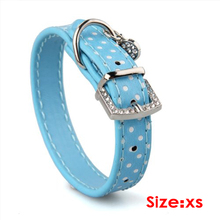 KSOL Blue PU Leather Dog Cats Pets Puppy Neck Safety Collars XS