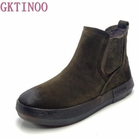 GKTINOO Women Short Boots Flats Shoes Cow Suede Genuine Leather Slip On Ladies Boots Round Toe