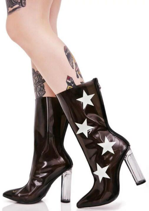2017 Hot Women Sexy Transparent Black White Pink Star/White Star PVC Pointed Toe Zip Back Square Heel Mid-calf Short Boots Lady