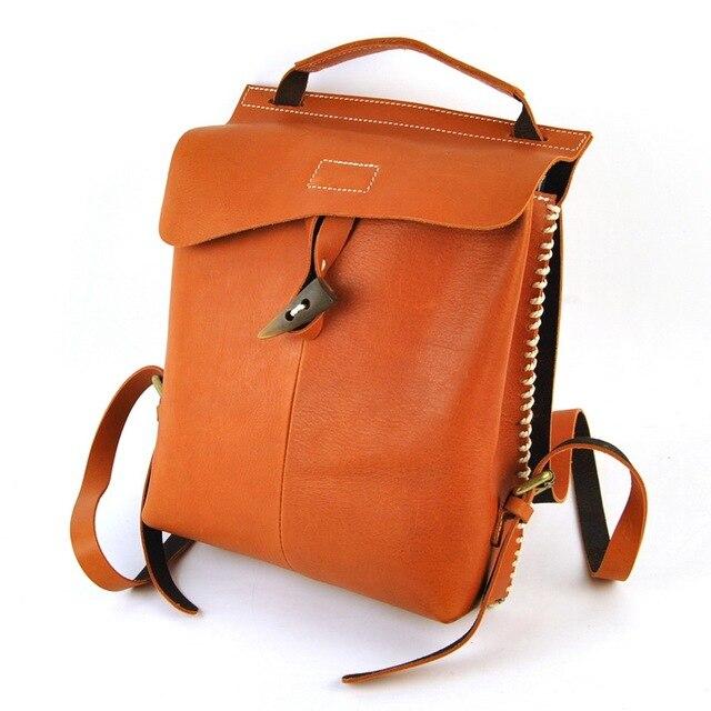 Fashion Women High Quality Vintage Genuine Leather Backpack School Shoulder Bag Crossbody Book Purse