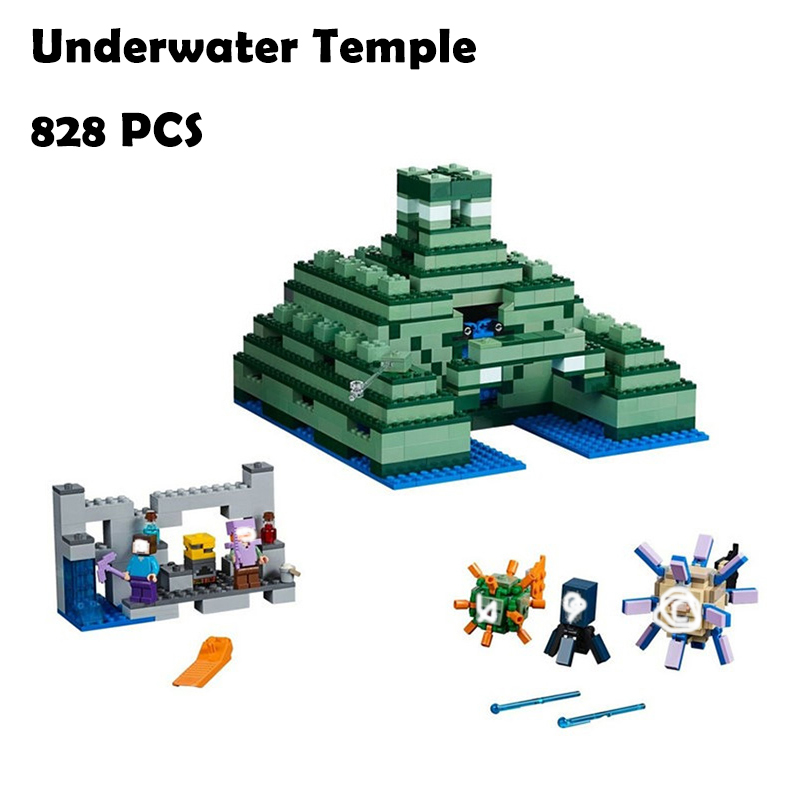 Model building kits Minecraft 828pcs Underwater Temple compatible with lego My World 21136 Blocks Toys hobbies For Children model building kits compatible with lego the sky dragon my worlds minecraft 548 pcs model building toys hobbies for children
