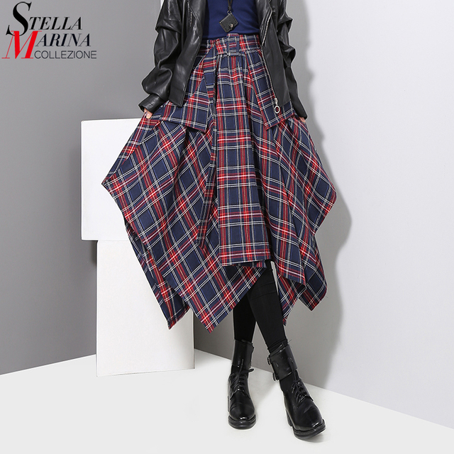 7b68121aea New 2018 Women Winter Blue Gray Plaid Skirt Checker Gypsy Style Female  Irregular High Waist Mid Calf Length Casual Dresses 3027