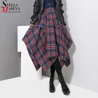 New 2019 Korean Style Women Winter Navy Blue Plaid Skirt Checker Lady Irregular Elastic Waist Mid Calf Length Casual Skirt 3027