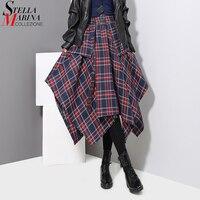 New 2017 Women Winter Blue Gray Plaid Skirt Checker Gypsy Style Female Irregular High Waist Mid
