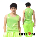 Fashion Personality all-match Nightclub singer dj Male Neon Green vest Basic costumes Stage show performance accessories
