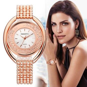 REBIRTH Women's Watches Ladies Watch Luxury Relogio Feminino Rose Gold Bracelet For Women Clock Women Reloj Mujer Saat
