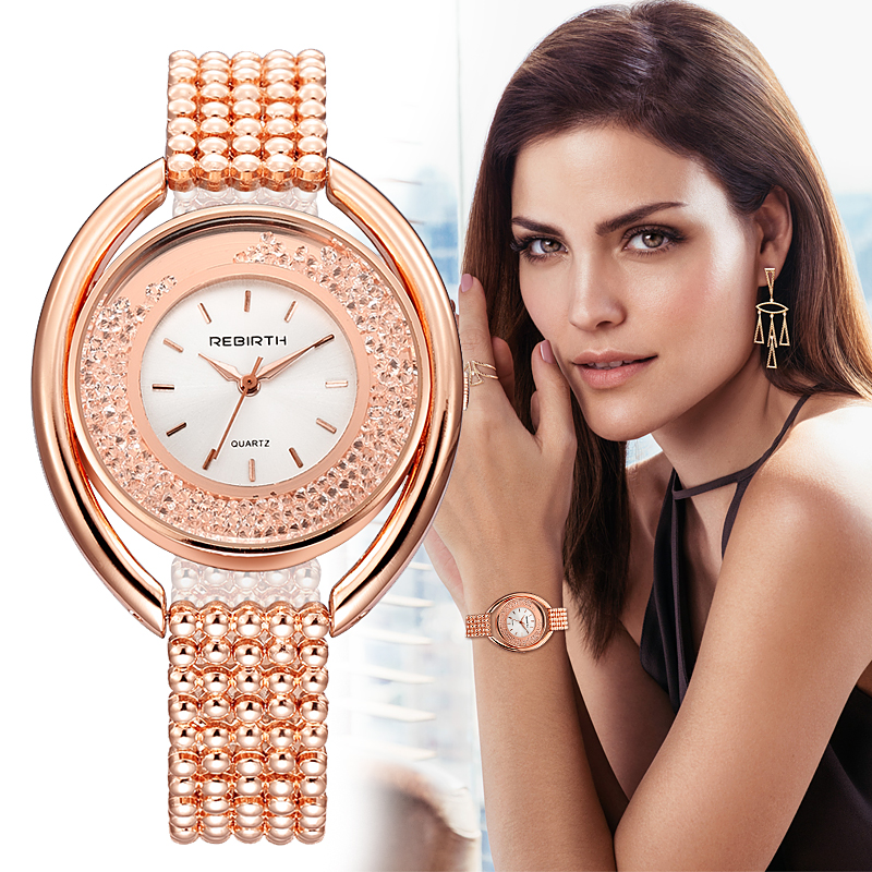 REBIRTH Women's Watches Ladies Watch Luxury Relogio Feminino Rose Gold Bracelet For Women Clock Women Reloj Mujer Saat relogio feminino luxury brand watches 2017 ladies rose gold bracelet quartz wrist watch woman hours clock women saat reloj mujer