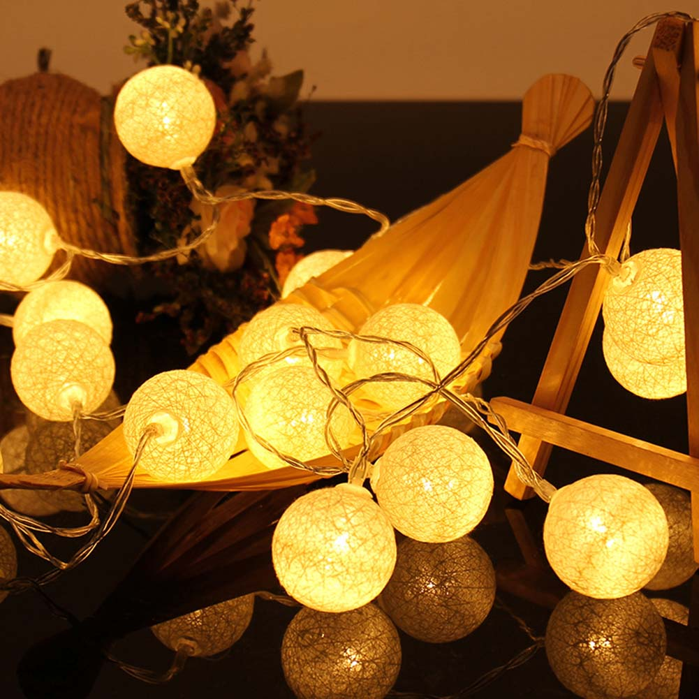 20 Leds Cotton Ball String Lights Newest Battery Powered Fairy String Lights Decoration Party Wedding Christmas Lighting Y15 new arrival 10 20 leds string light easter rabbit bunny decoration battery powered pure white
