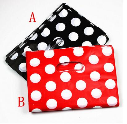 100pcs/lot Black And Red Dots Plastic Gift Bag Boutique Carrier Shopping Bags 15X20CM Plastic Gift Bags With Handles
