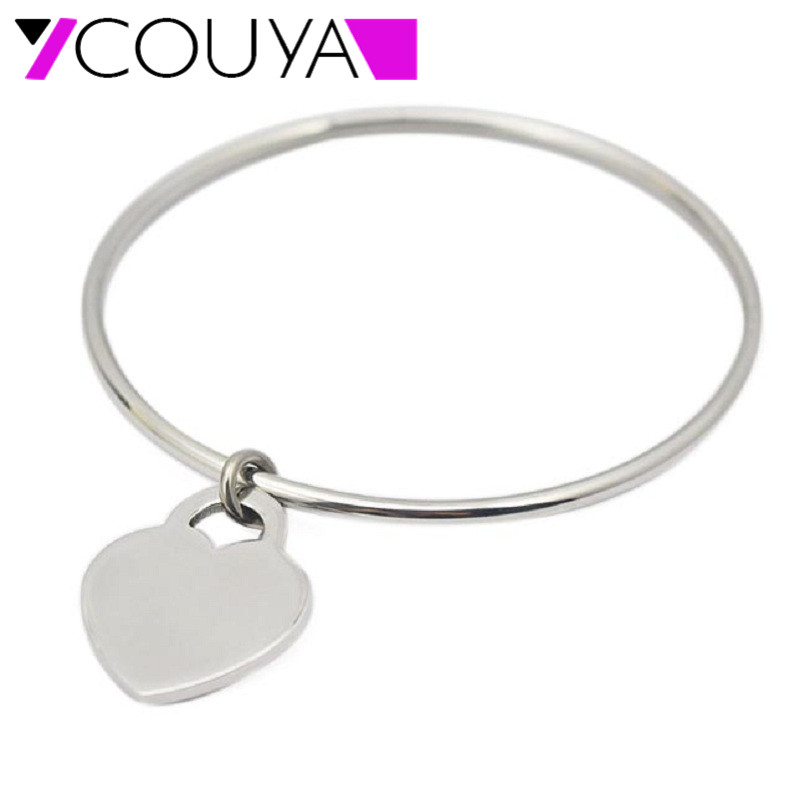 Heart Tag Bangle Jewelry for Women Luxury Jewelry Brand Pulseira Stainless Steel Bracelet & Bangle 60mm 65mm 70mm