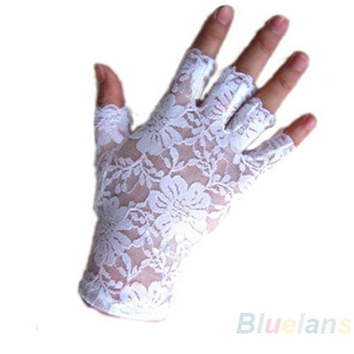 New Goth Party Sexy Dressy Women Lady Lace Gloves Mittens For AccessoriesFingerless Black White 0JFA 9CL8