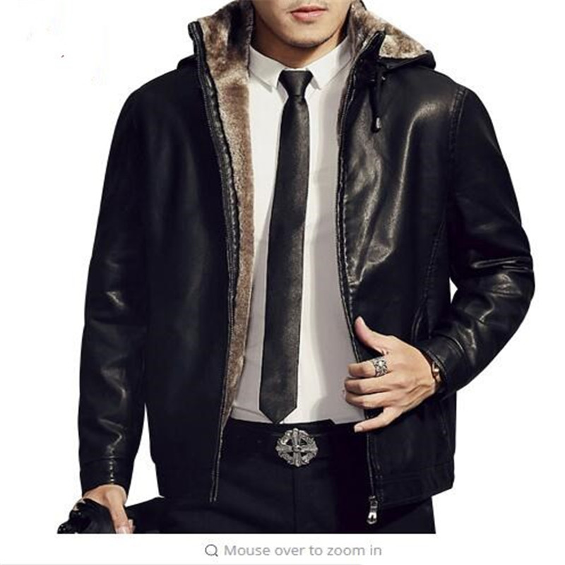 Hooded Detachable Mens Fashion Motorcycle Black PU Faux Leather Jacket With Fur Linning Men Casual Biker Leather Coat Slim fit