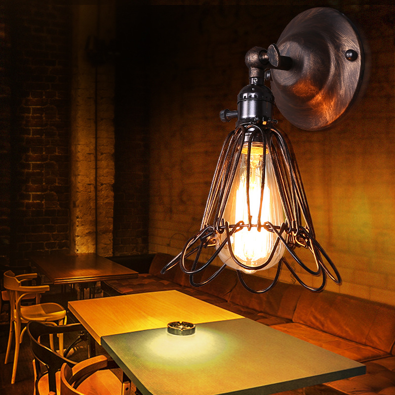 American Industrial Vintage Creative Retro Iron Wall Lamp Loft Style Simple Cage Bathroom Aisle Decoration Light Free ShippingAmerican Industrial Vintage Creative Retro Iron Wall Lamp Loft Style Simple Cage Bathroom Aisle Decoration Light Free Shipping