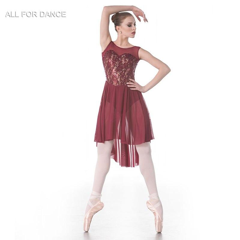Nouvelle robe de Ballet de Costume de danse lyrique de corsage de dentelle de Sequin, jupe de danse femmes et robe de danse de fille