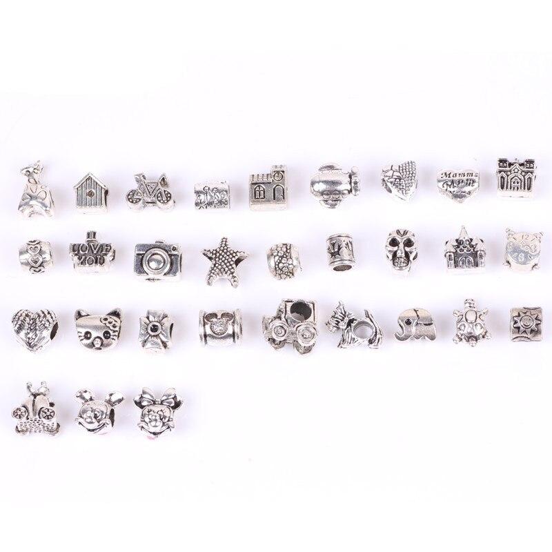 Mix 30pcs Tibetan Silver Big Hole Loose Beads 2018 New European Pendant Bead Fits Pandora Charms Bracelets Pendants DIY Jewelry