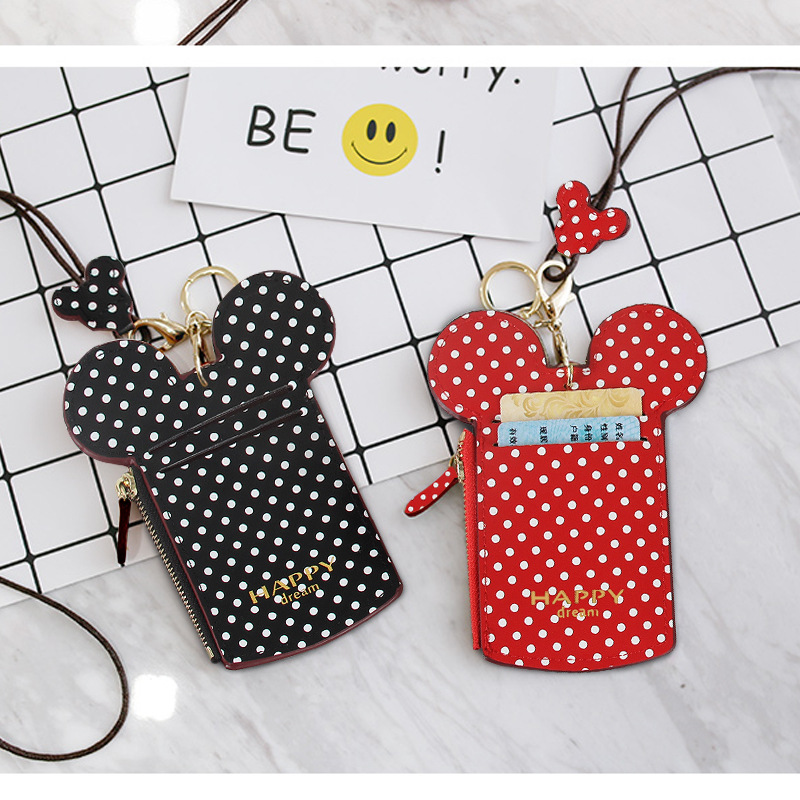 Disney Cartoon Bag ID Storage Packet Bus Card Holder Case Mickey Purse Coin Keychain Pendant Card Certificate Bag