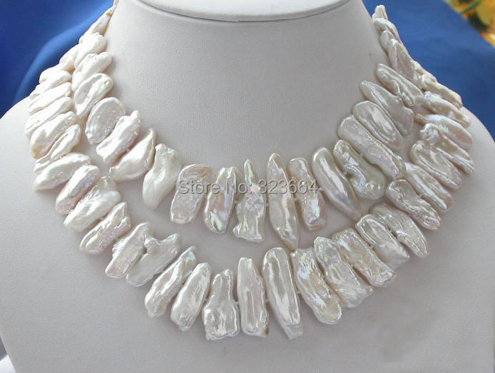 Luster 32 30MM WHITE DENS BIWA PEARL NECKLACE