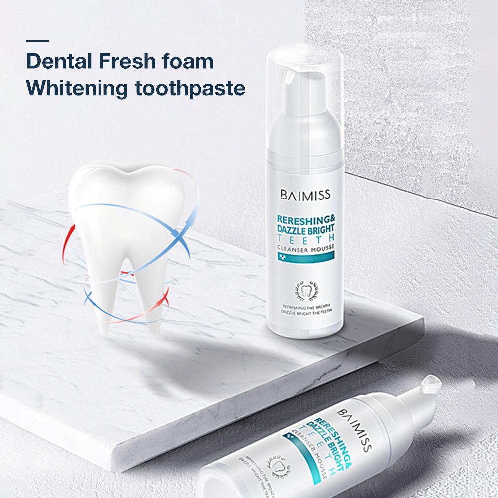 60ml Dental Foam Cleaning Teeth Fresh Breath Teeth Whitening Remove Bad Breath Portable Oral Mouth Cleaner Dental Care Natural