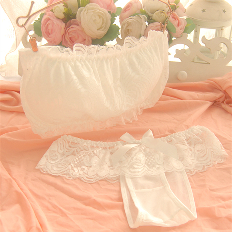 2016 sexy lace tube top young girl underwear sweet vest design comfortable wireless women's bra set