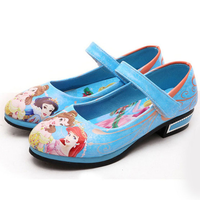 2017 New Fashion Cartoon Print Princess Shoes Kids Girl Party Shoes Ankle Strap Kids Girls Dress Shoes Low Heels Kids Shoes