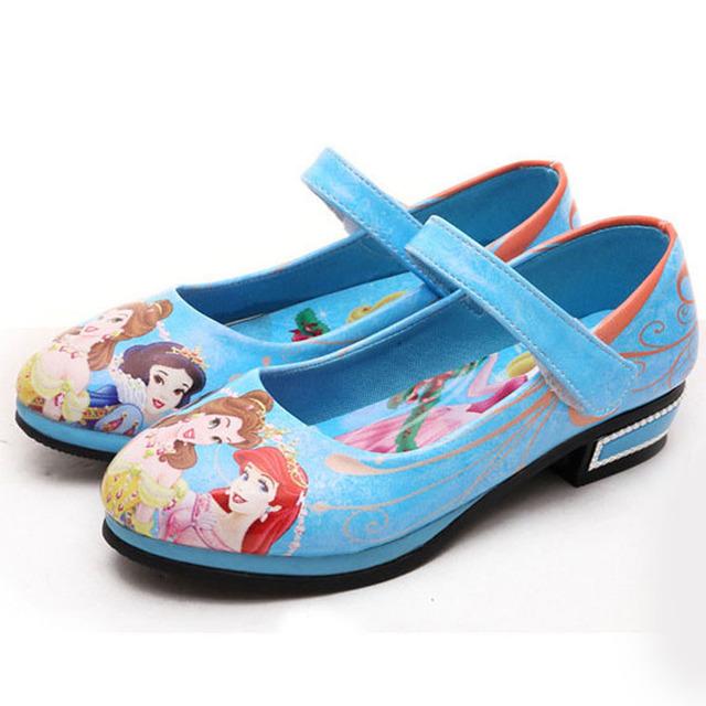 2017 nova moda dos desenhos animados imprimir princesa shoes crianças party girl shoes com tira no tornozelo crianças girls dress shoes saltos baixos crianças shoes