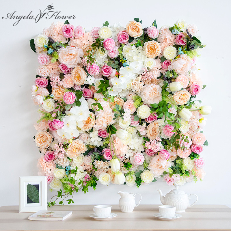 1m 1m artificial flower wedding decoration background wall silk rose Peony hydrangea tulip mix plant simulation