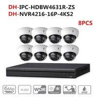 DH CCTV Камера безопасности Системы комплект 8 шт 6MP POE увеличительная IP камера IPC HDBW4631R ZS 16POE 4 K NVR NVR4216 16P 4KS2 системах видеонаблюдения