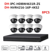 DH CCTV Camera Security System Kit 8PCS 6MP POE Zoom IP Camera IPC HDBW4631R ZS 16POE 4K NVR NVR4216 16P 4KS2 video surveillance