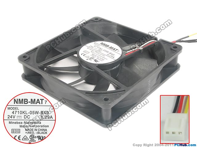 NMB-MAT 4710KL-05W-B49 E00 B00 Server Square Fan DC 24V 0.29A 120x120x25mm 3-wire nmb mat 3110kl 04w b49 b02 b01 dc 12v 0 26a 3 wire server square fan
