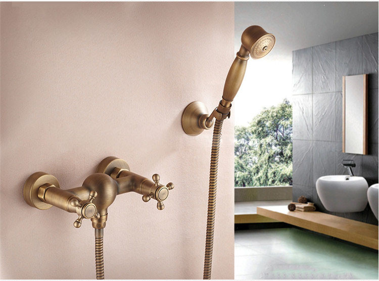 Bathroom Vintage Shower Wall Surface Mount Brass Rainfall Bathtub Shower Faucet Set Antique Brass with Handshower + Tub Spout