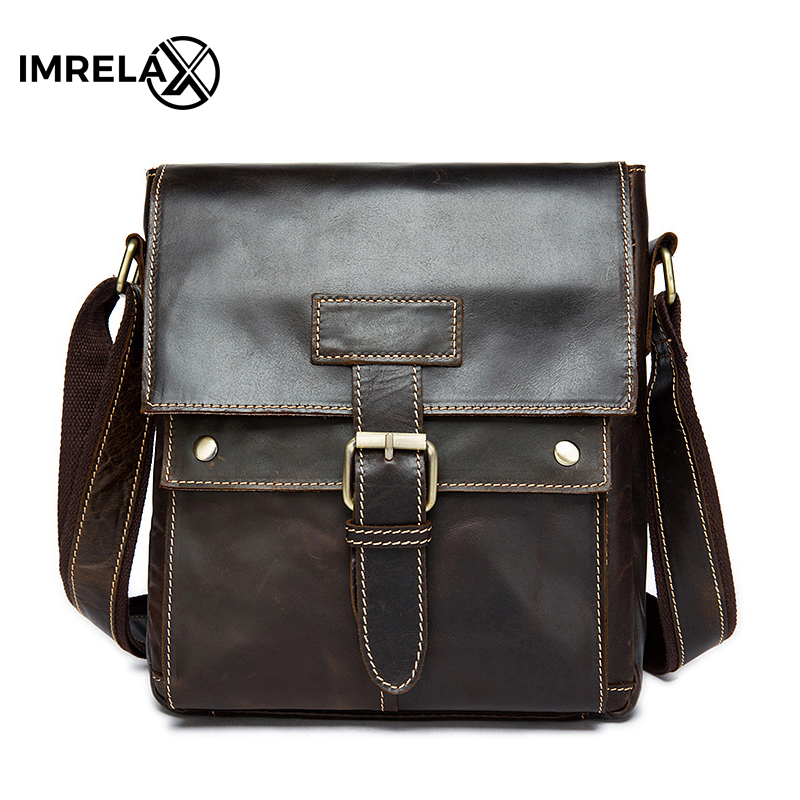 IMRELAX Genuine Leather Men Bags Hot Sale Male Small Messenger Bag Man Fashion Crossbody Shoulder Bag Men's Travel New Bags hot 2017 genuine leather bags men high quality messenger bags male small travel brown crossbody shoulder bag for men li 1996