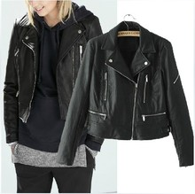 Spike ! Black street classic slim fit womens faux leather jackets splice PU short coats fashion clothing female star style XL
