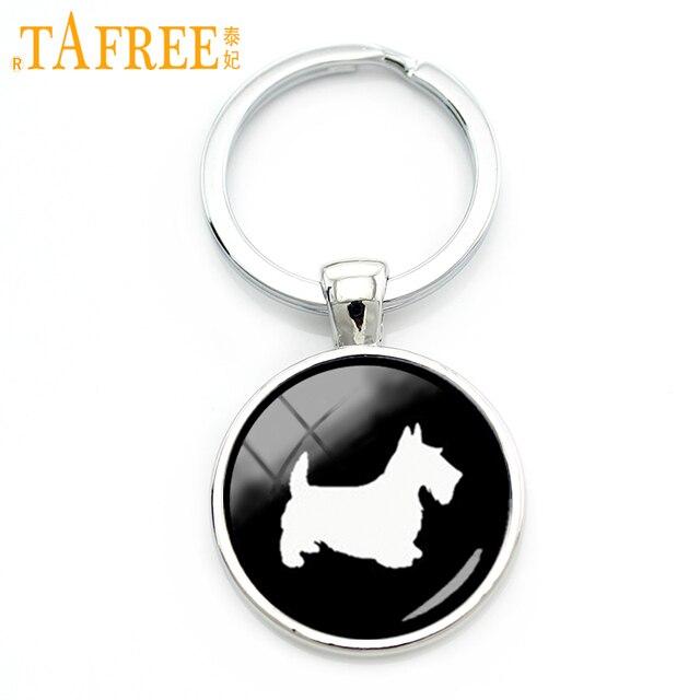 Scottish Terrier TAFREE Melhor amigo bonito chave cadeia retro simples perfil padrão artesanal keychain animal de estimação adorável cão presente KC504