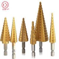 Schritt Bohrer Spiral Flöte HSS Stahl Kegel Titan Beschichtet Mini Bohrer Werkzeug Set Loch Cutter 3-12 /13mm 4-12/20/22/32mm