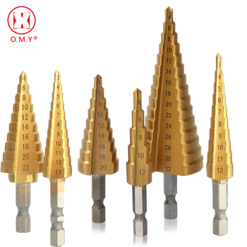 Step Drill Bit Spiral Flute HSS Steel Cone Titanium Coated Mini Drill Bit Tool Set Hole Cutter 3-12/13mm 4-12/20/22/32mm